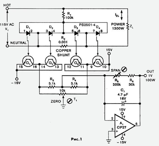 Вычисление потребляемой мощности аппаратуры.